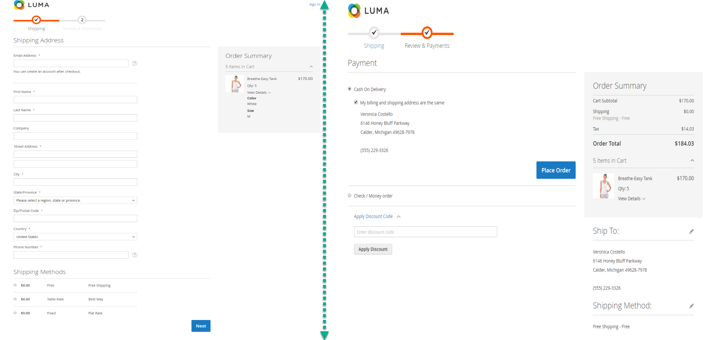 Magento 2 default checkout