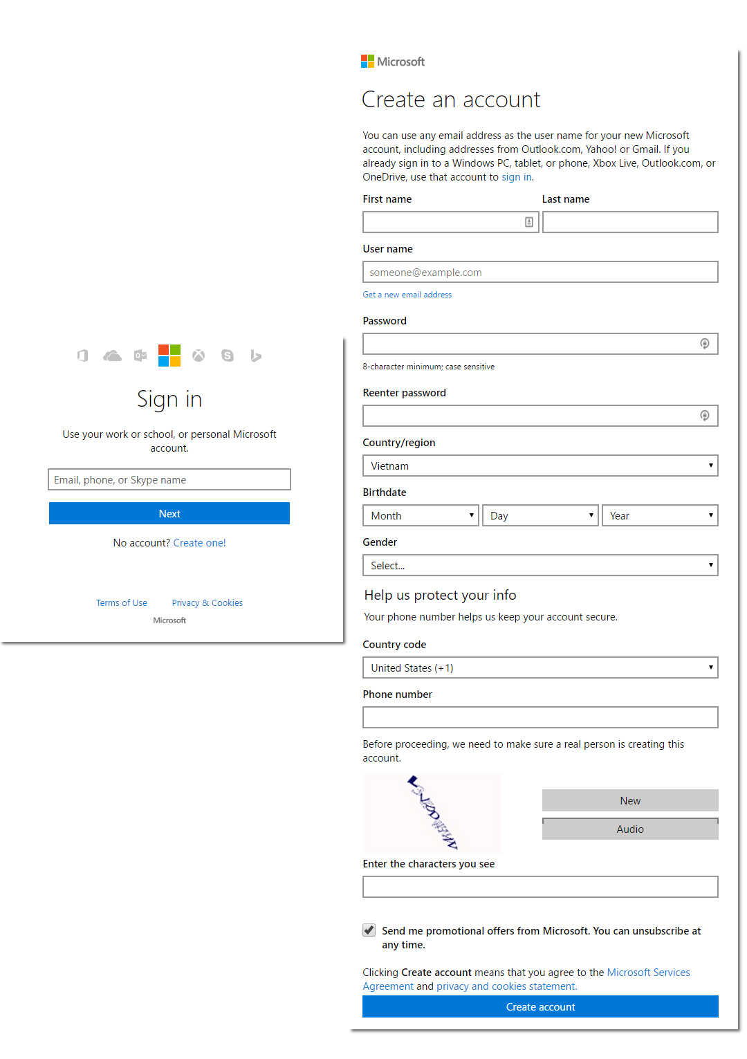 sign-in or login account