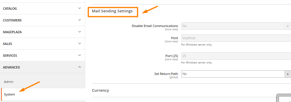 Mail Sending Settings