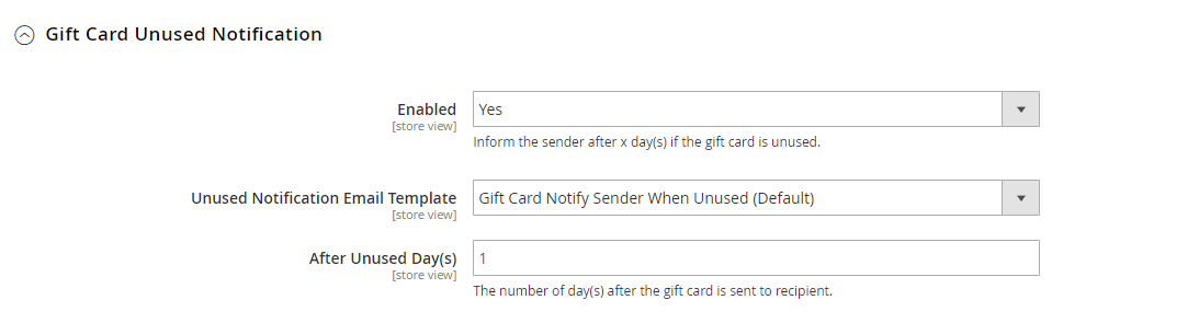 Gift Card Unused Notification