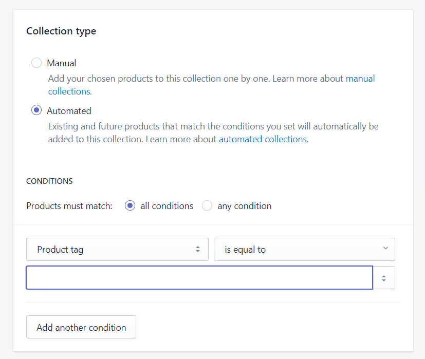 create automated collection shopify