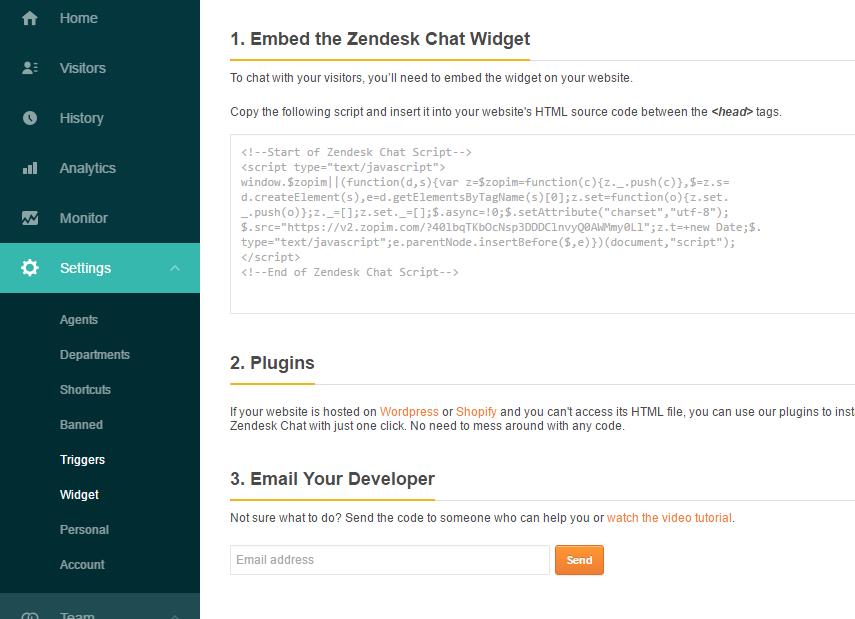 Get Zopim code