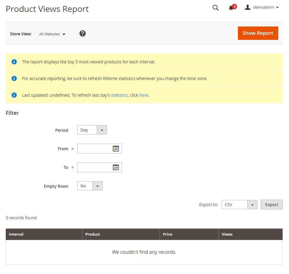 Magento 2演示产品报告