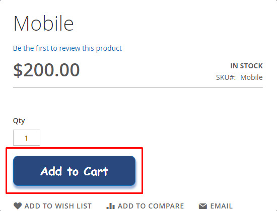 new design applied to the add to cart button
