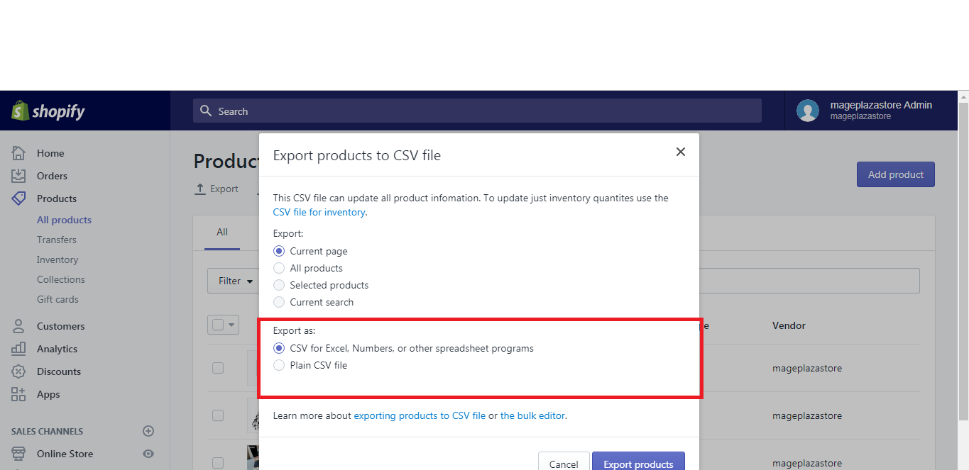 export the products on desktop 6