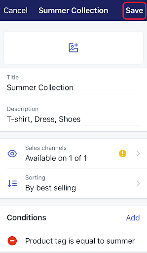 how to change the availability of a collection on iphone