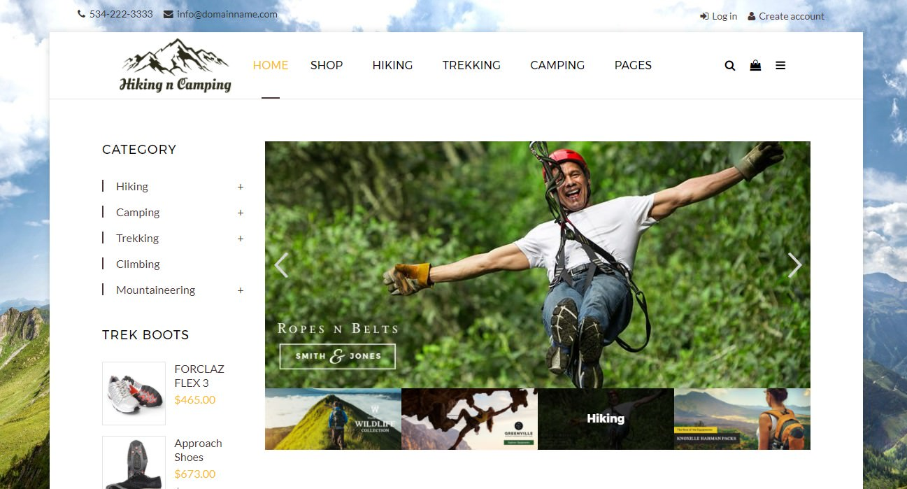 Hiking and Camping Shop theme