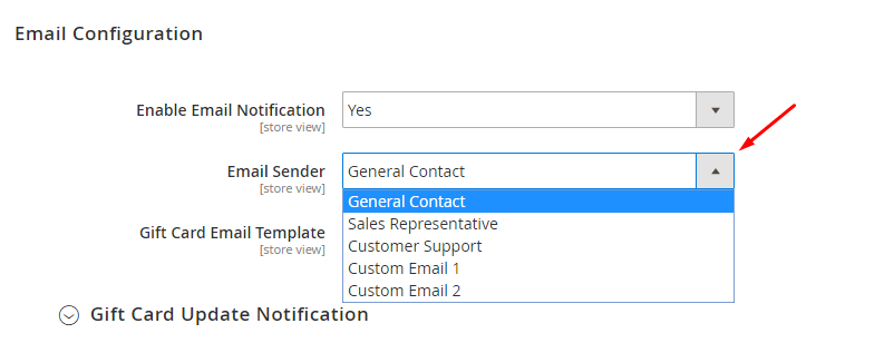 Magento 2 gift card Email Configuration