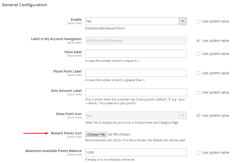 Upload the icon to Magento 2 Reward Points