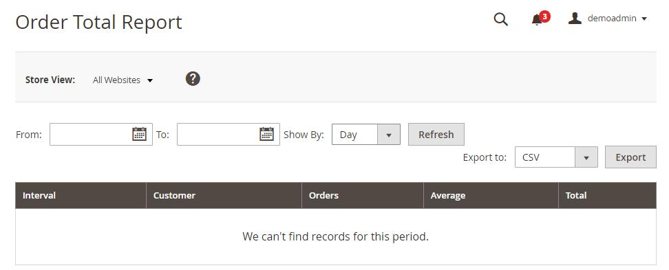 Magento 2演示客户报告