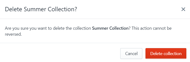 how delete collection shopify