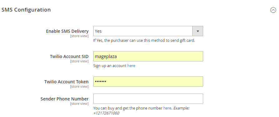 SMS Notification for Gift Card