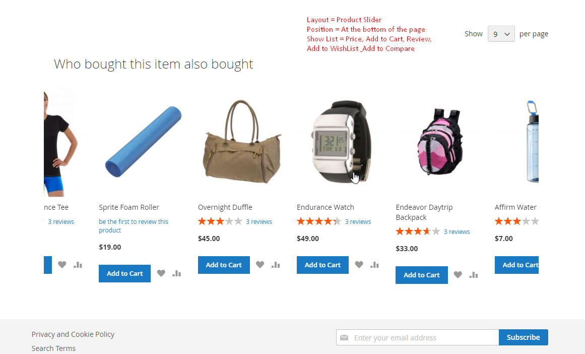 sample of who bought this item also bought on category page