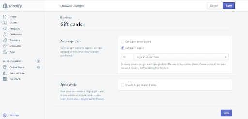 change your gift card expiry settings