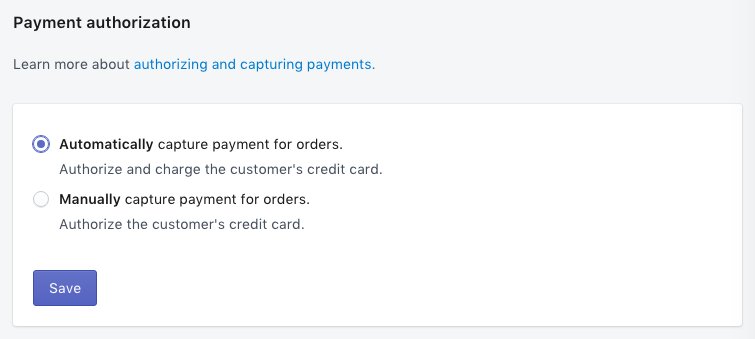 How to set up automatic capture of credit card payments on Shopify