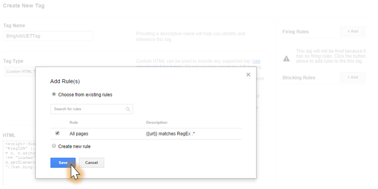 Configure Bing Ads Universal Event Tracking