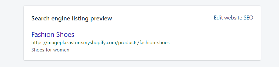 How to edit a search engine listing preview on Shopify