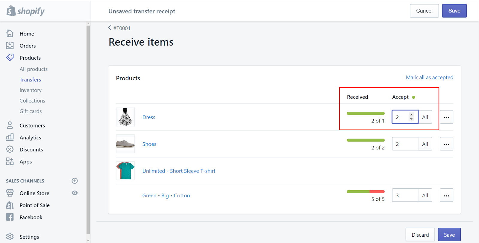 how to receive inventory on shopify