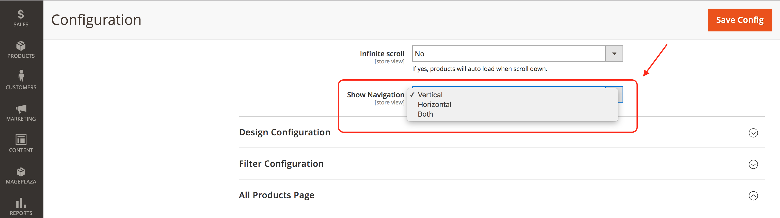 Magento 2 Configuration Horizontal Layered Navigation