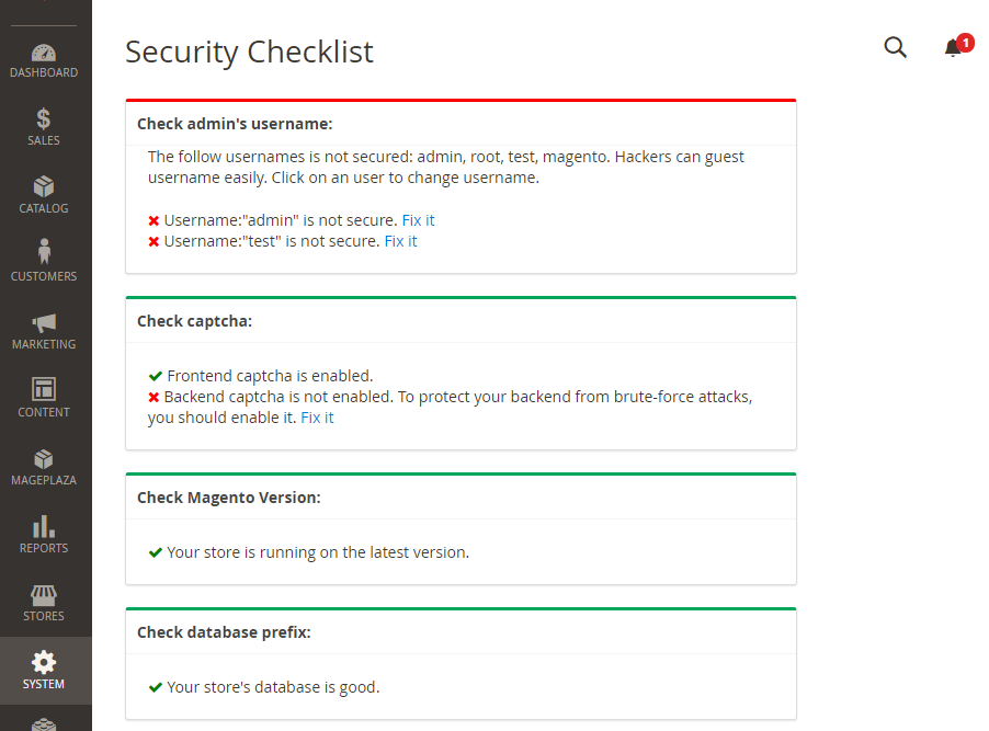 How Security Checklist function works