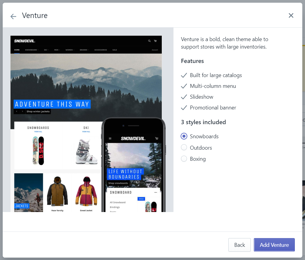 How to add a free theme from the Shopify admin on Desktop4