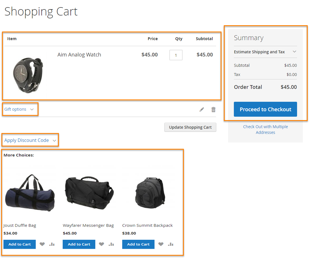 Magento 2 optimized shopping cart page