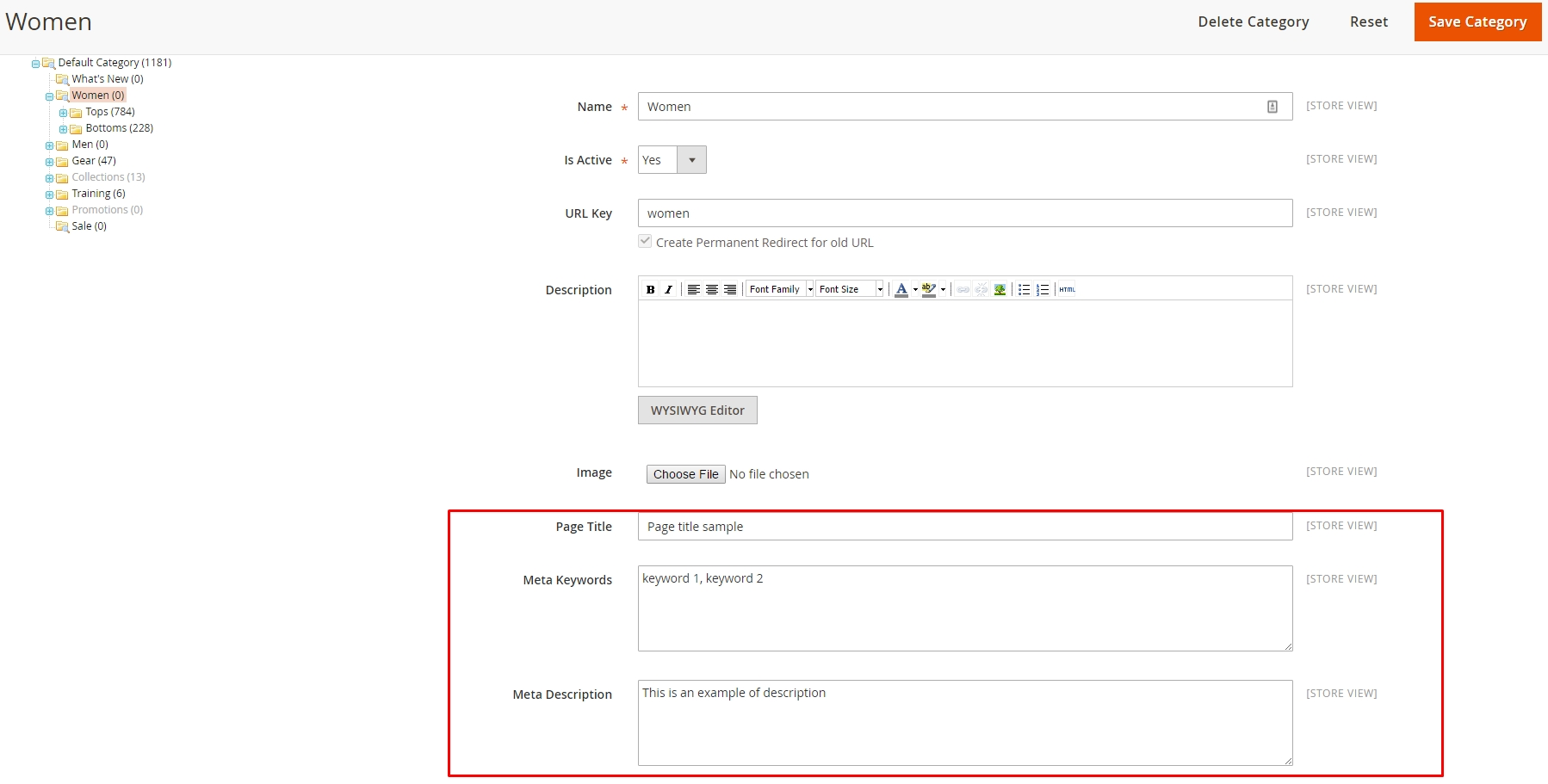 How to Configure SEO for category