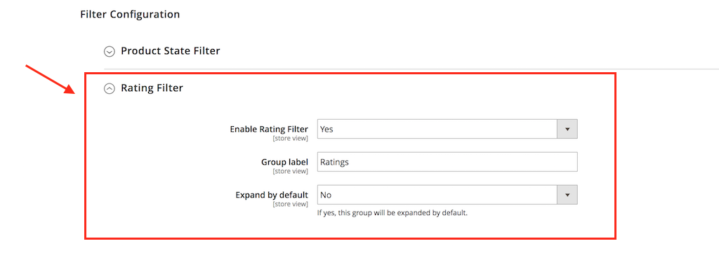 filter by rating config