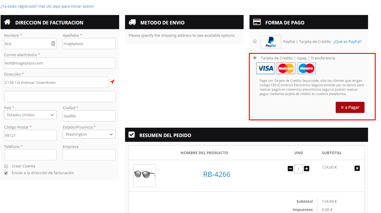 sistel redsys payment method