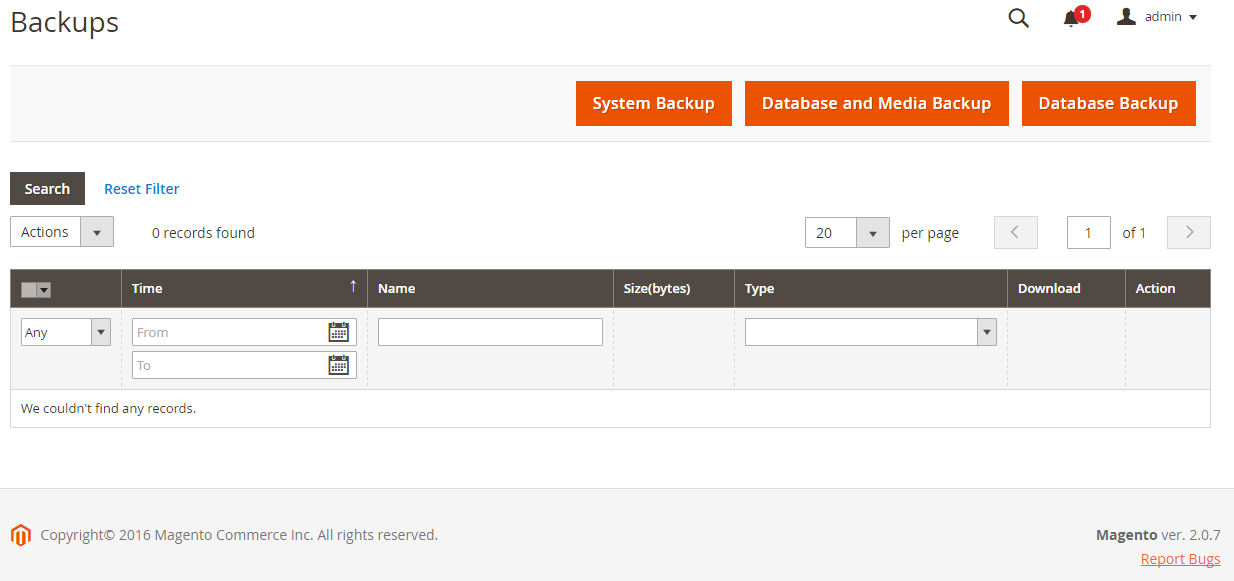 Backup your Magento store