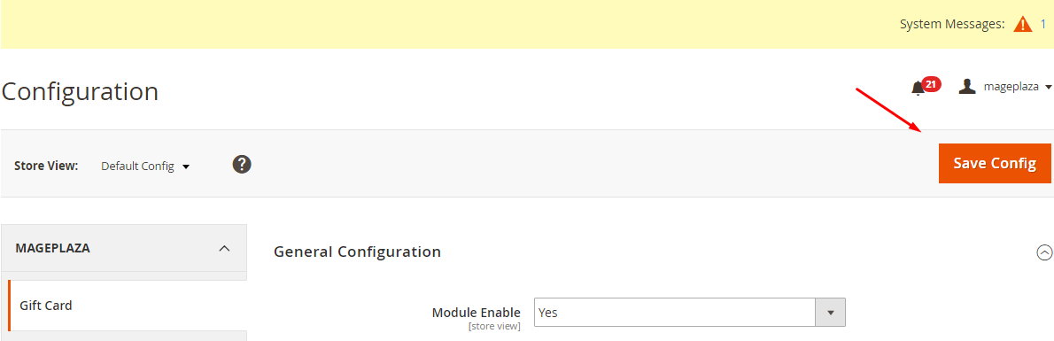 save SMS Configuration