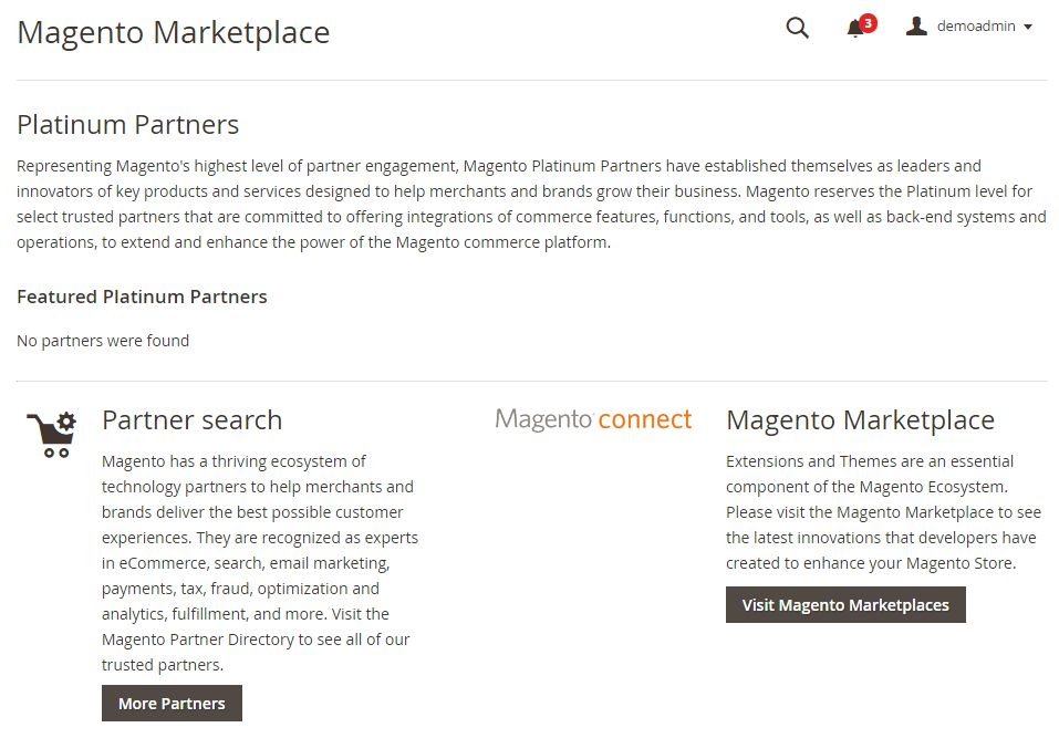 Magento 2 Demo查找合作伙伴和扩展程序