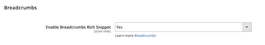 breadcrumb setting