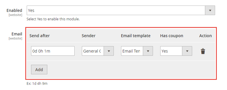 Easy-to-customize configuration Abandoned Cart Email extension