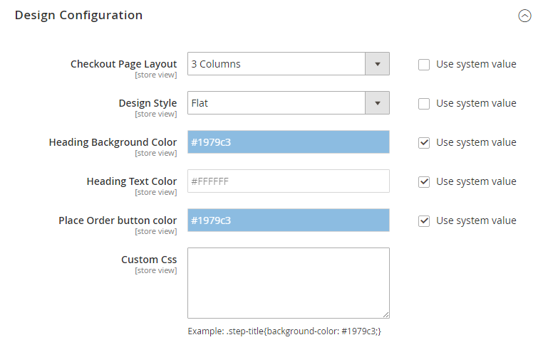 checkout design configuration