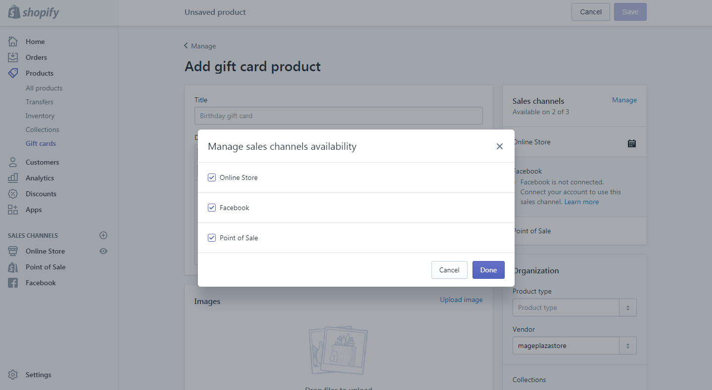 how to add or update a gift card products