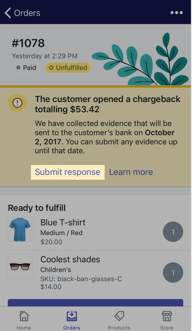view and add evidence for a chargeback