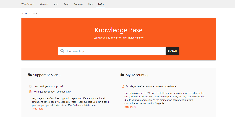 Magento 2 Optimized FAQ homepage