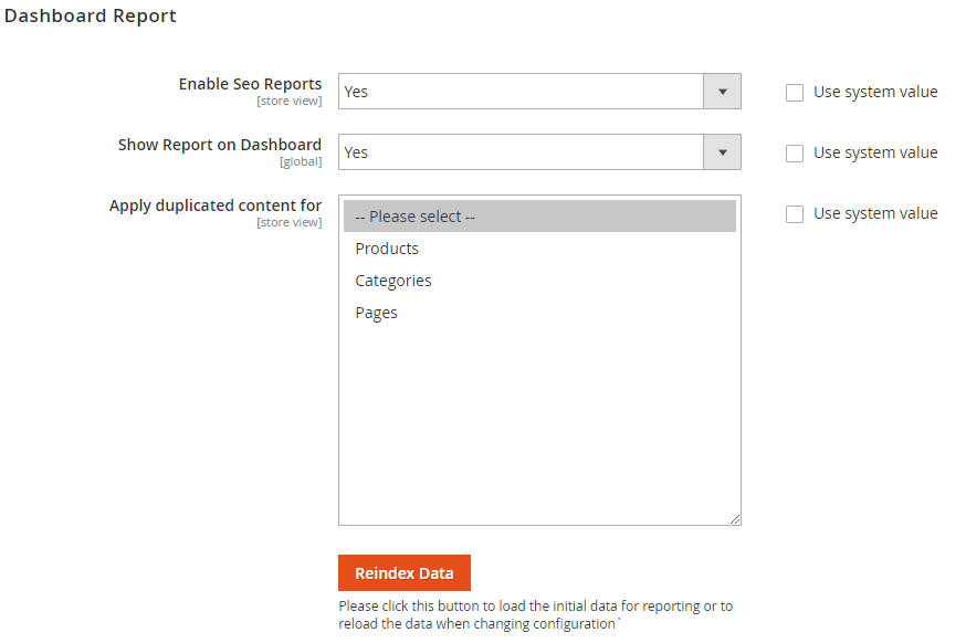 Config Magento SEO: Dashboard Reports
