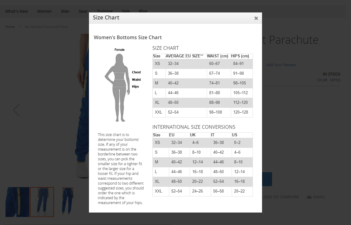 size chart popup for magento 2
