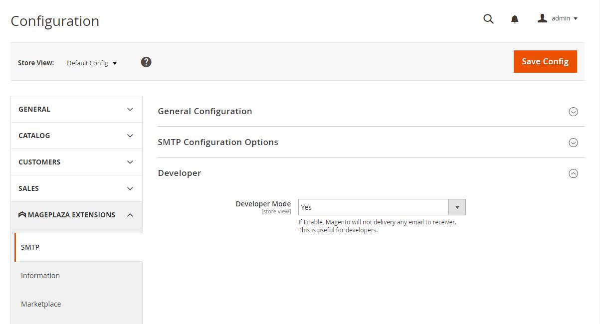SMTP developer mode