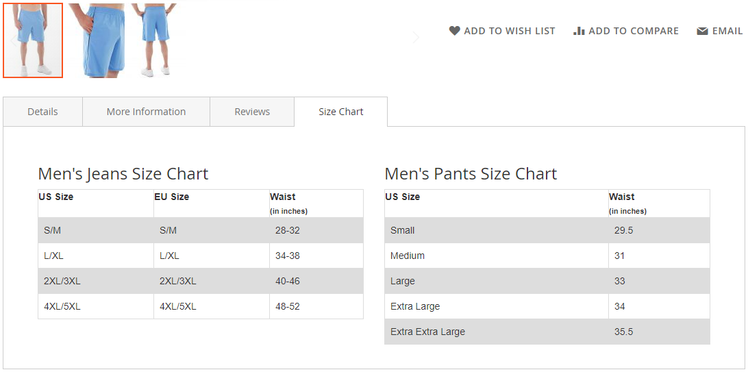 Size chart show at product tab position