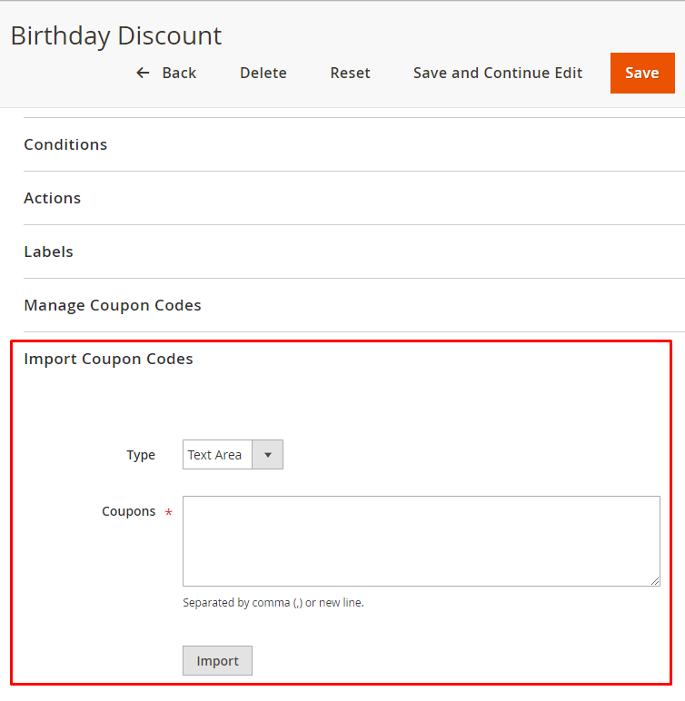 Magento 2: Import Coupons From Text Area