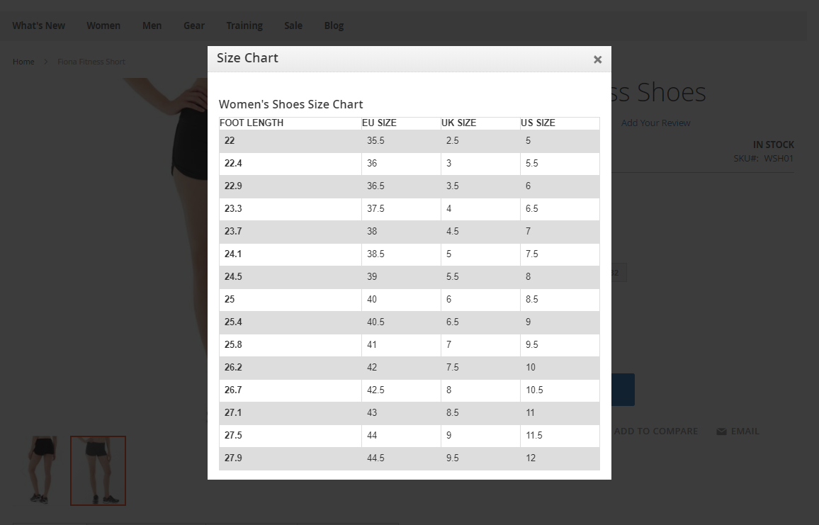 size chart module