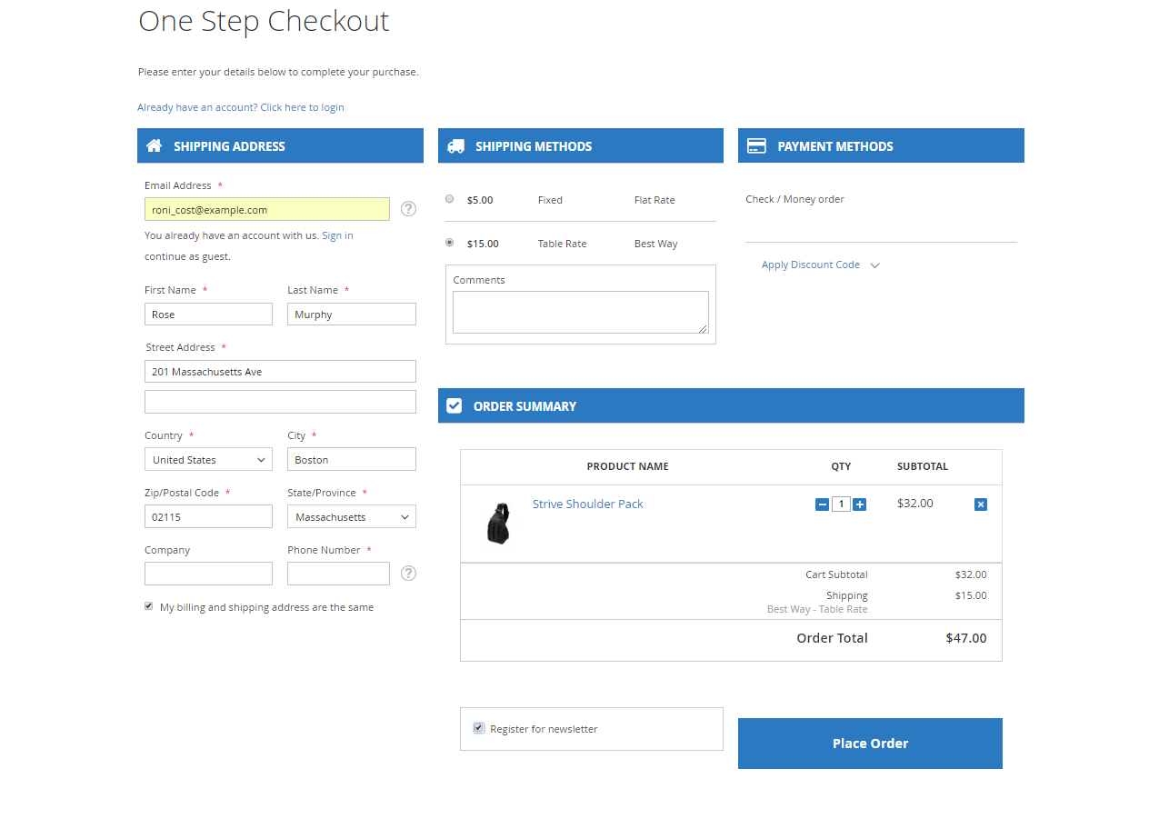 Magento 2 One Step Checkout vs. One Page Checkout