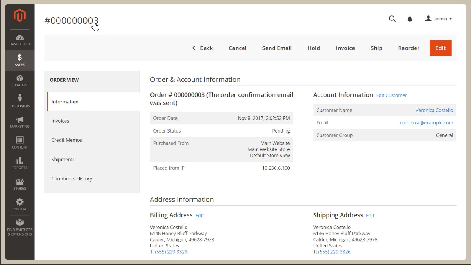 Edit Sales Order